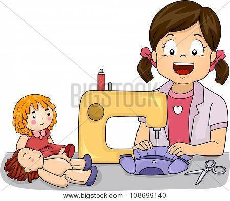 Illustration of a Little Girl Making Homemade Dresses for Her Dolls