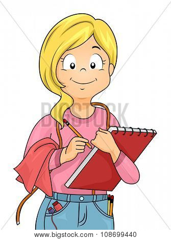 Illustration of a Little Girl Dressed as a Tailor Carrying a Sketchpad poster