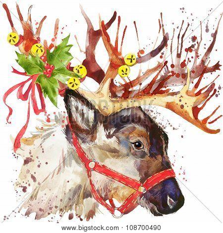 Reindeer Santa Claus. Reindeer Santa Clau illustration with splash watercolor textured background. i