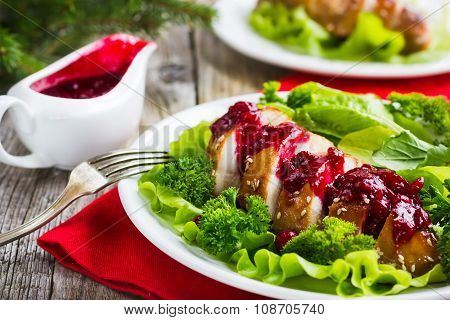 Roasted Chicken Breast With Cranberry Sauce For Christmas Dinner