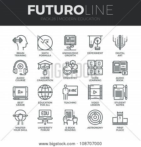 Modern Education Futuro Line Icons Set