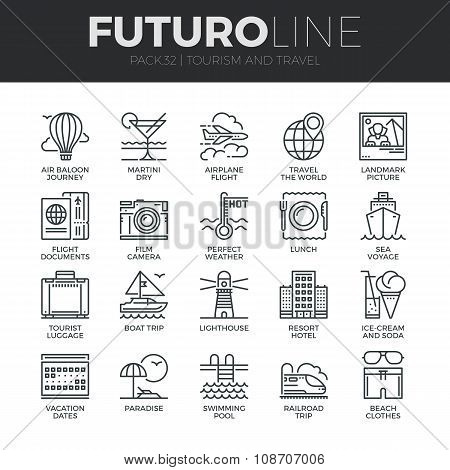 Tourism And Travel Futuro Line Icons Set