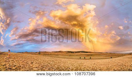 Panoramic Photo. Photographer Shoot Beautiful Rainbow After The Rain.