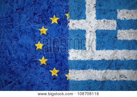 European Union and Greece flags