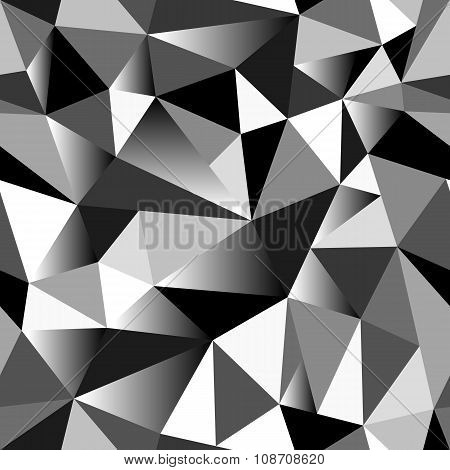 Abstract grayscale gradient geometric rumpled triangular seamless low poly style background poster