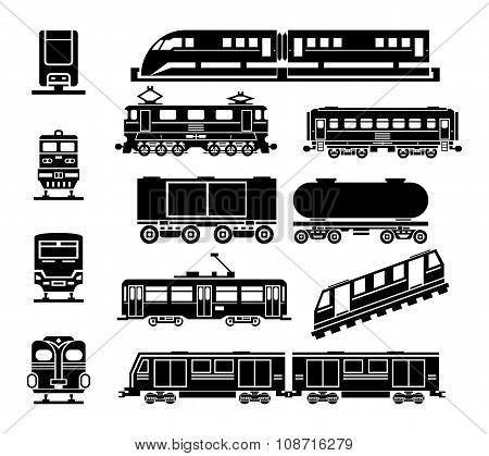Passenger and public rail city transport black icon vector set