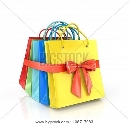 A Set Of Colored Paper Shopping Bags, Wrap A Red Ribbon On A White Background.