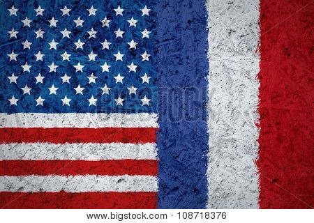 USA and France flags