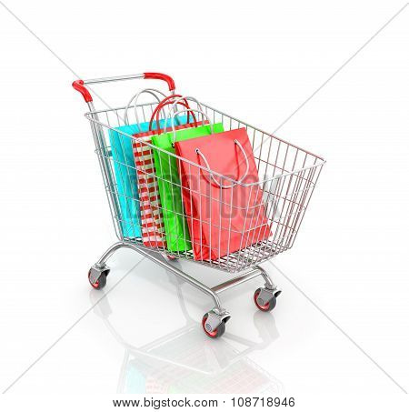 Trolley For Supermarket Which Are Multicolored Paper Bags For Shopping.