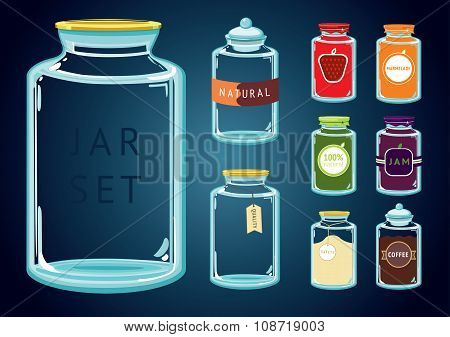 Set of empty and full glass jars