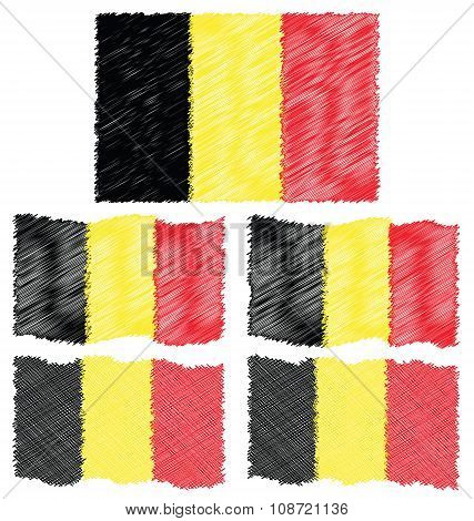 Flat And Waving Hand Draw Sketch Flag Of Belgium