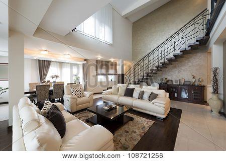 Luxury Multilevel Living Room Interior