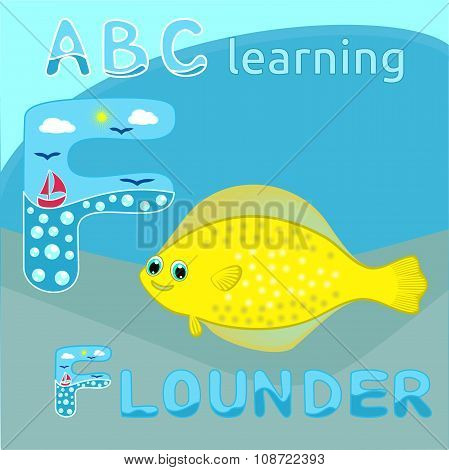 ABC kids F letter ABC learning Funny animal alphabet Happy sea flounder fish Yellow large spotted fi