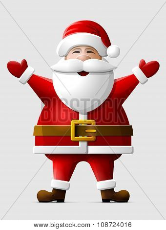 Cheerful Santa Claus Standing In Full Length