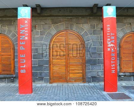 PORT LOUIS, MAURITIUS ISLAND - OCTOBER 30, 2015: Blue Penny museum main attraction on Mauritius showing the Mauritian one-penny and two-pence stamps of 1847 and selection of antique maps, engravings.