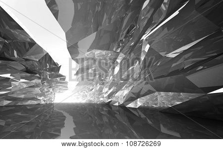 Corridor Of Rugged Walls And Glowing End, 3D