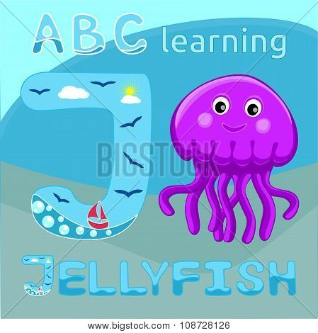 J is for Jellyfish Letter J uppercase font and Cute happy jellyfish cartoon character Sea animal vec