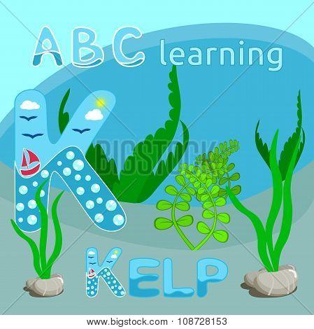 K Is For Kelp Kelp vector illustration Seaweeds underwater seascape Funny cartoon sea bottom Ocean p