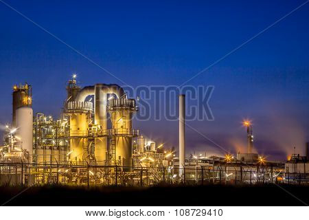 Landscape Heavy Industrial Chemical Factory At Night