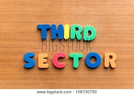 third sector colorful word on the wooden background poster