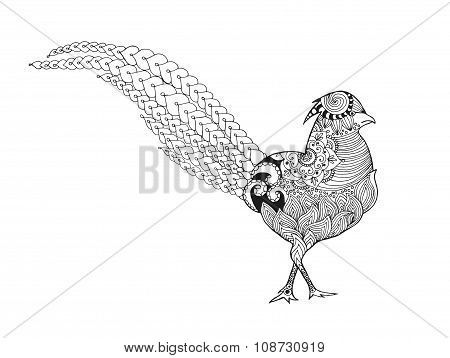 Zentangle stylized pheasant