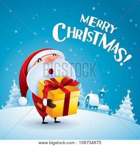 Merry Christmas! Santa Claus holding a gift in Christmas snow scene.
