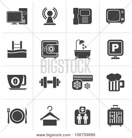 Black Hotel Amenities Services Icons