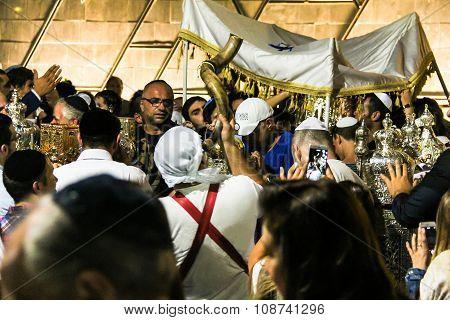 Unidentified Jewish People On Ceremony Of Simhath Torah. Tel Aviv.