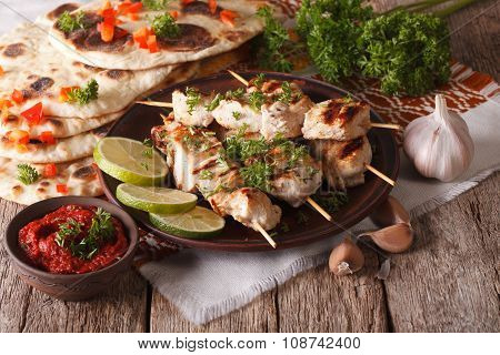 Chicken Tikka On Skewers, Flat Bread And Chutney Closeup. Horizontal