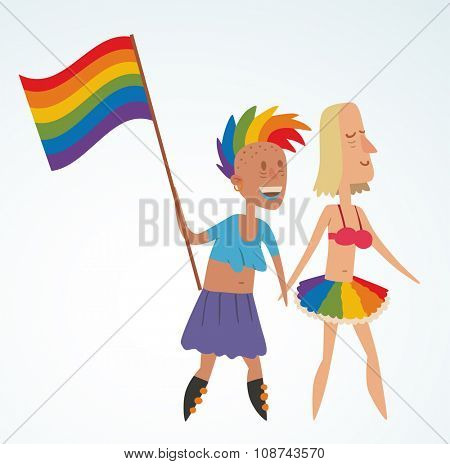 Homosexual gay and lesbian people vector. Homosexual marriage lesbian couples. Gay, lesbian couple. Wpman lesbian family vector illustration. Homosexual couple colors free love. Gay, lesbian parade