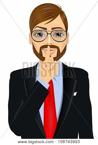 portrait of handsome hipster businessman with glasses making silence or secret hand gesture with finger on his lips poster