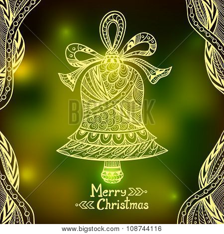 Christmas Bell in Zen-doodle style  on blur background in  green