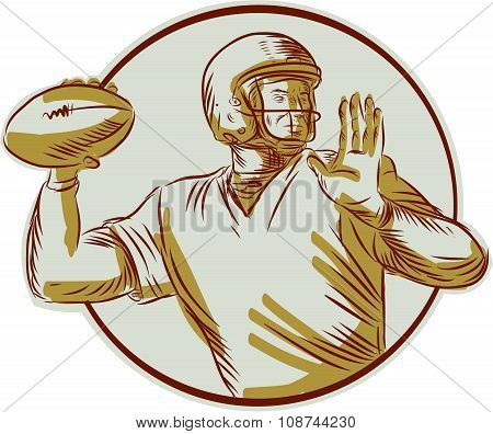 American Football Qb Throwing Circle Side Etching