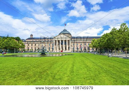 WIESBADEN, GERMANY - JUNE 27, 2011: famous old casino in Wiesbaden Germany in daytime under blue sky. The casino is the main attraction of Wiesbaden for gamblers.
