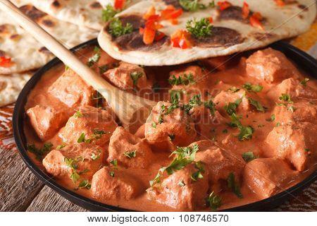 Indian Food Chicken Tikka Masala And Naan Close-up. Horizontal