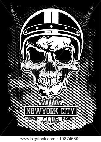 Vintage Motorcycle New York Typography, T-shirt Graphics, Vectors, Skull