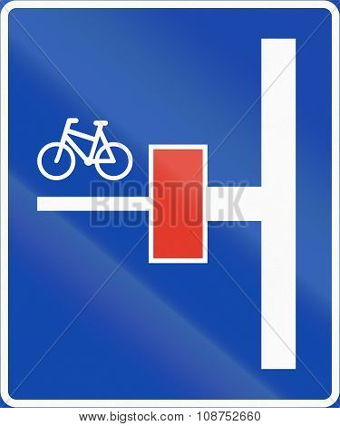 Norwegian Information Road Sign - Dead End For Motor Vehicles On The Left