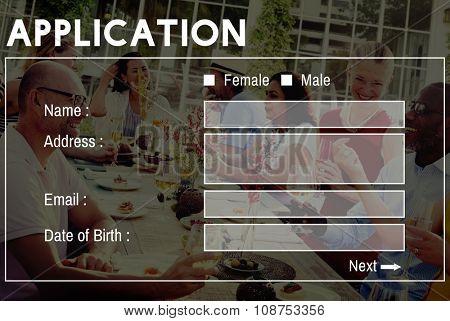 Application Form Interface Webpage Register Concept