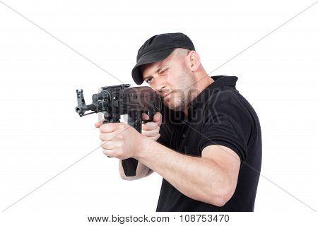 Man Pointing Ak-47 Machine Gun Isolated On White