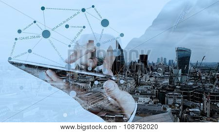 Double Exposure Of Businessman Working With New Modern Computer Show Social Network Structure As Con