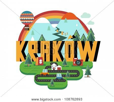Krakow in poland is Beautiful city to visit on holiday, vector cartoon illustration