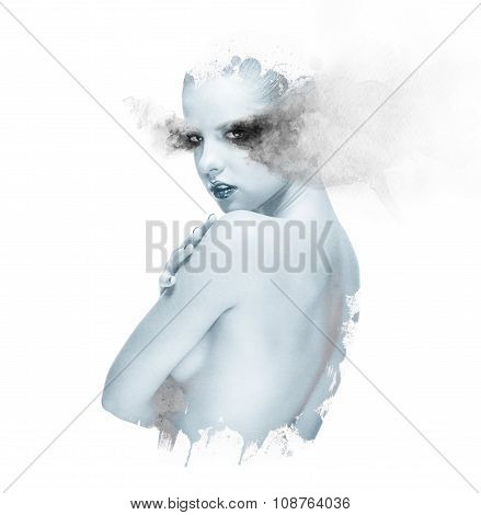 Double Exposure Of A Beautiful Young Woman Combined With Watercolor Elements