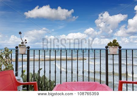 Sicilian Coastline in the morning. Deep blue sea. Lovely water at Trappeto near Castellammare in Italy poster