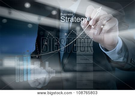 Double Exposure Of Businessman Hand Working With New Modern Computer And Business Strategy As Concep