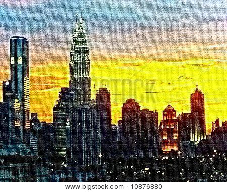Metropolitan skyline in canvas