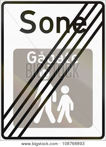 Norwegian Road Sign - End Of Pedestrian Zone. Sone Means Zone, Gagate Means Walk Street