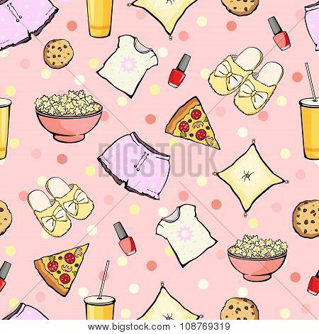 Vector Cute Sleepover Party Food Objects Seamless Pattern. Pizza. Popcorn. Pajamas. Treat.