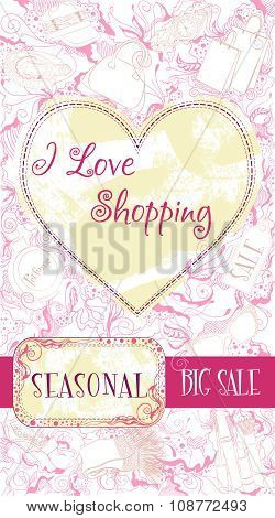 Vector decorative design card with advertising seasonal discount