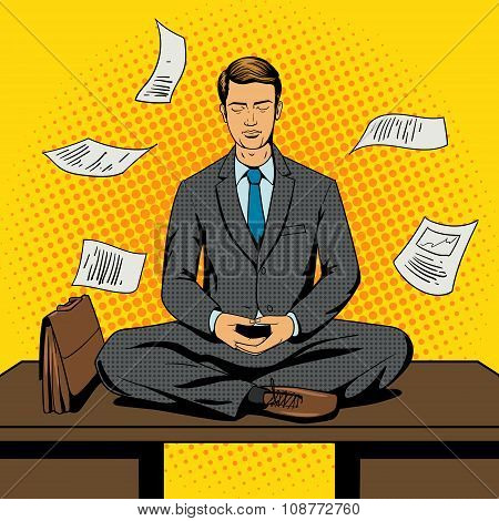 Businessman meditation cartoon pop art style