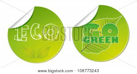eco go green bio labels natural vector business shop sticker